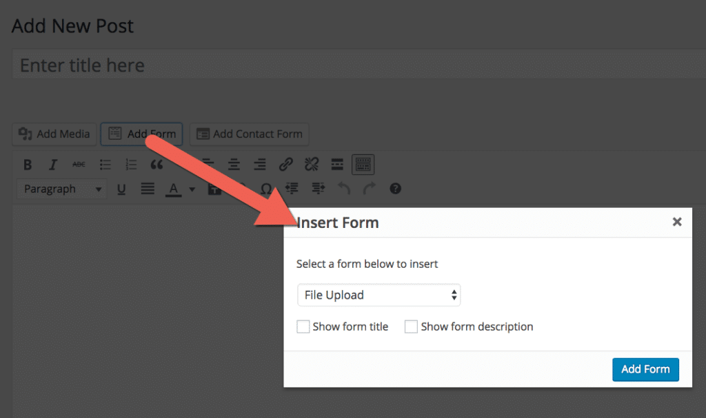 Adding a file upload form to a WordPress post via a button