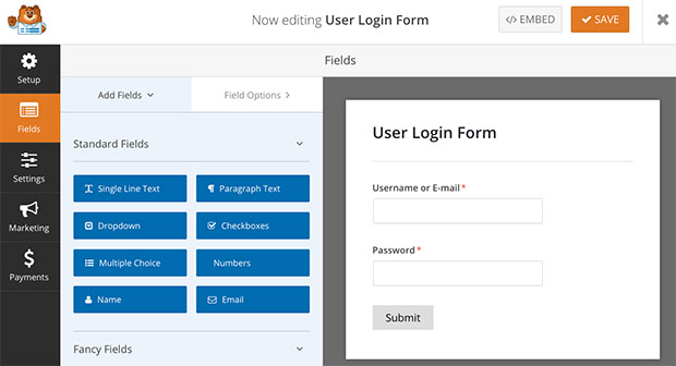 WPForms User Login Template