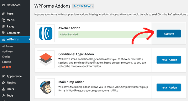 Activate Aweber addon for WPForms