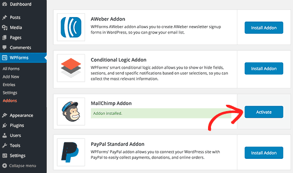 Activate MailChimp Addon
