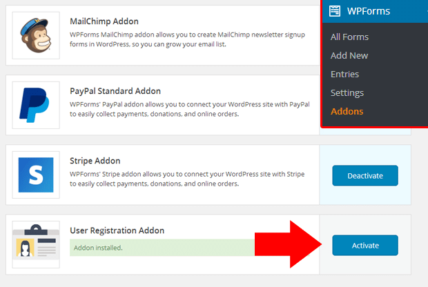 Activate User Registration Addon for WPForms