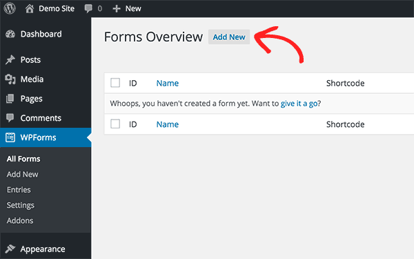 Adding a new form in WPForms