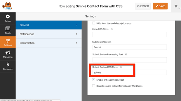 Add CSS Class to Submit Button
