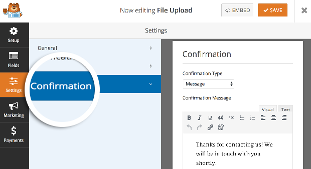 WordPress Document Upload Plugin Confirmation
