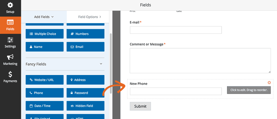 Drag to reorder form fields
