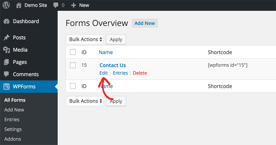 Editing a saved form in WPForms