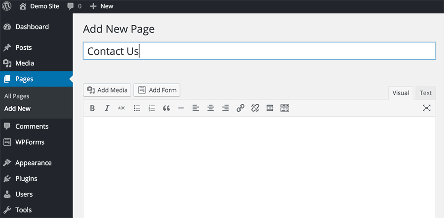 Adding form to a page in WordPress
