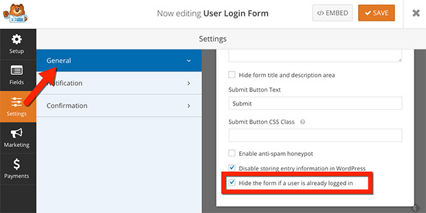 Show or Hide User Login Form