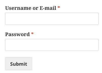 custom login form