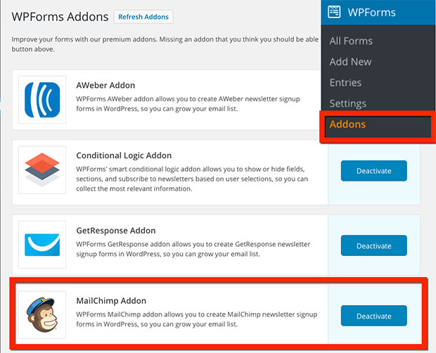 MailChimp WPForms Addon