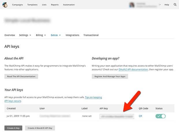 MailChimp API Keys
