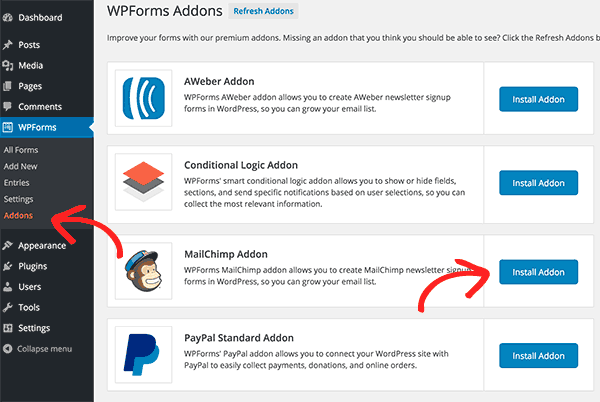 Installing MailChimp Addon
