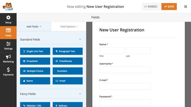 new custom user registration form builder
