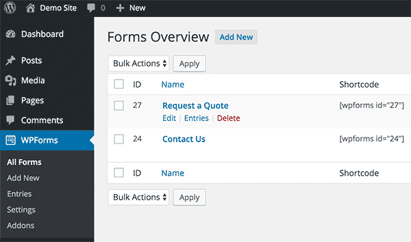 Create new or edit an existing form.