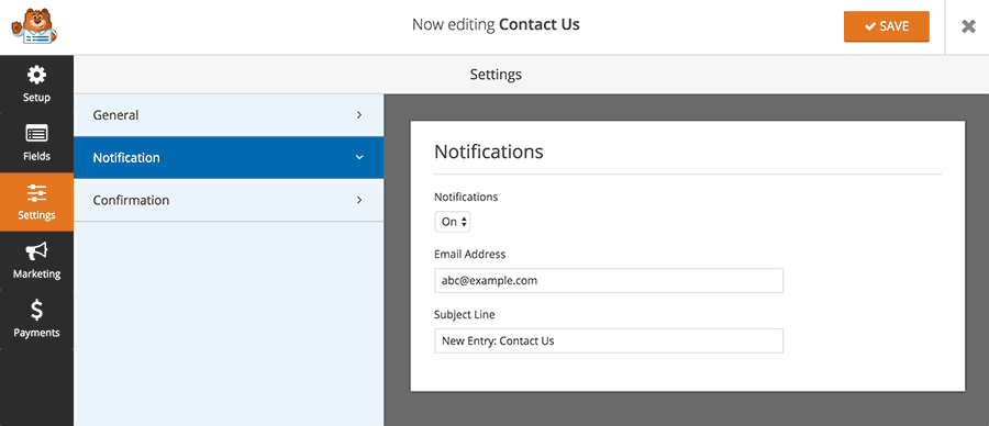 Notification form settings