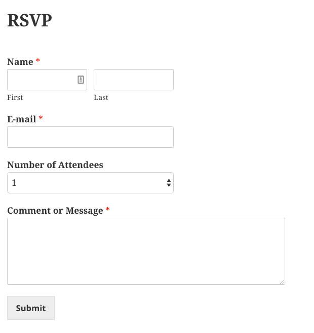 Published RSVP Form in WordPress