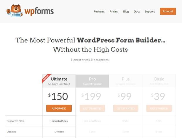 WPForms Upgrade Pricing
