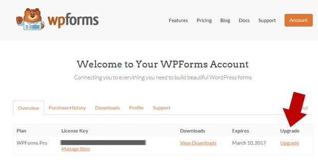 Upgrade WPForms
