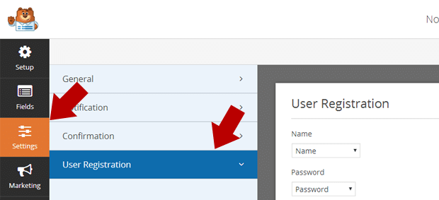 User Registration Settings Tab