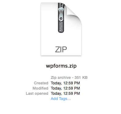WPForms Zip File