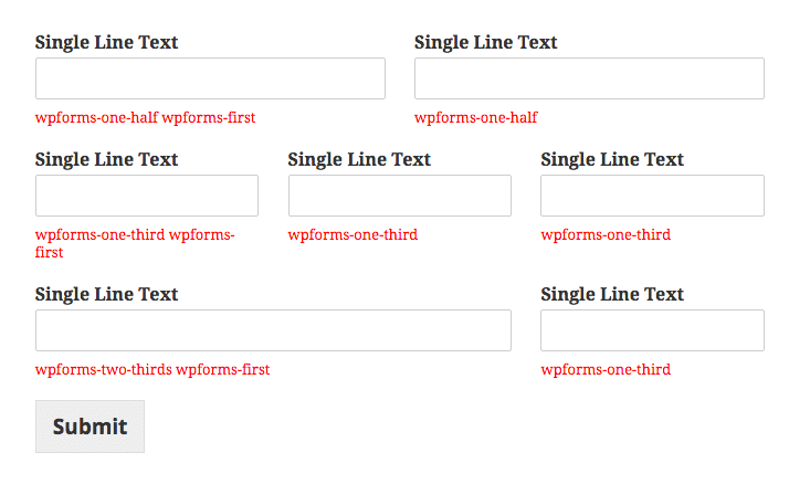 Available column classes in WPForms