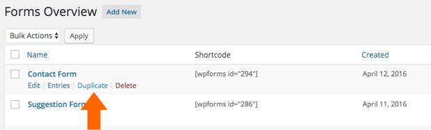 Duplicate a Form with WPForms
