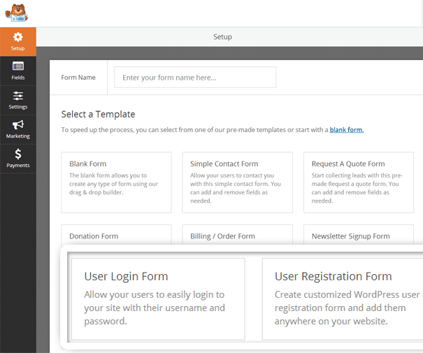 Login and User Registration Forms for WPForms