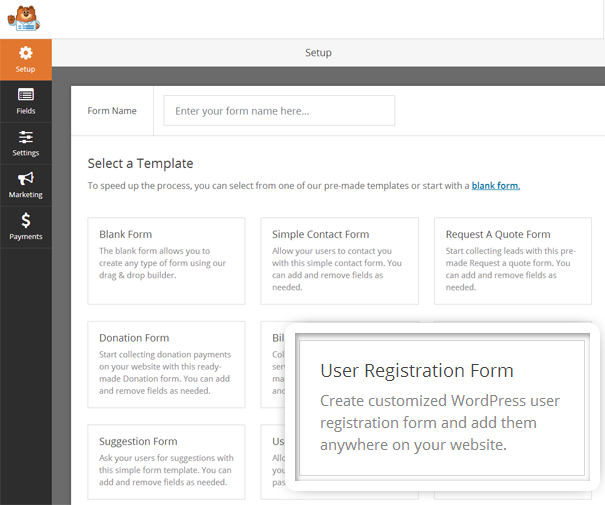 User Registration Form Template for WPForms