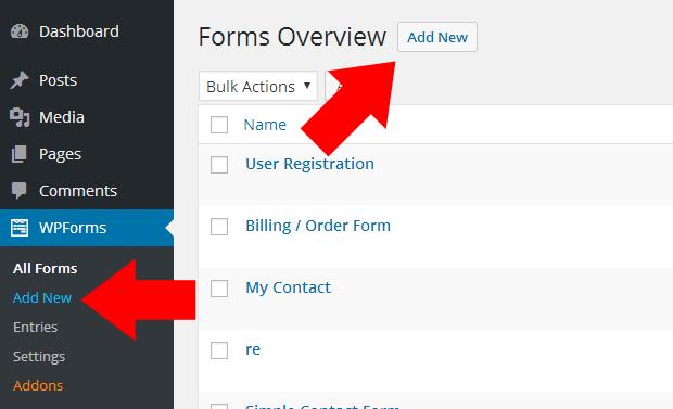 WPForms Add New Form