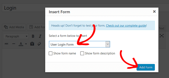 Add Login Form to Custom Login Page