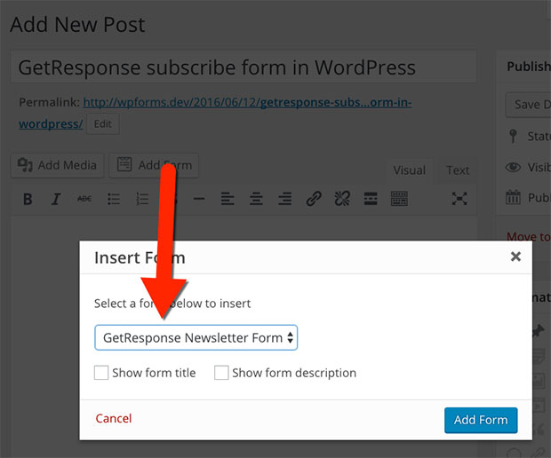 GetResponse subscribe form in WordPress