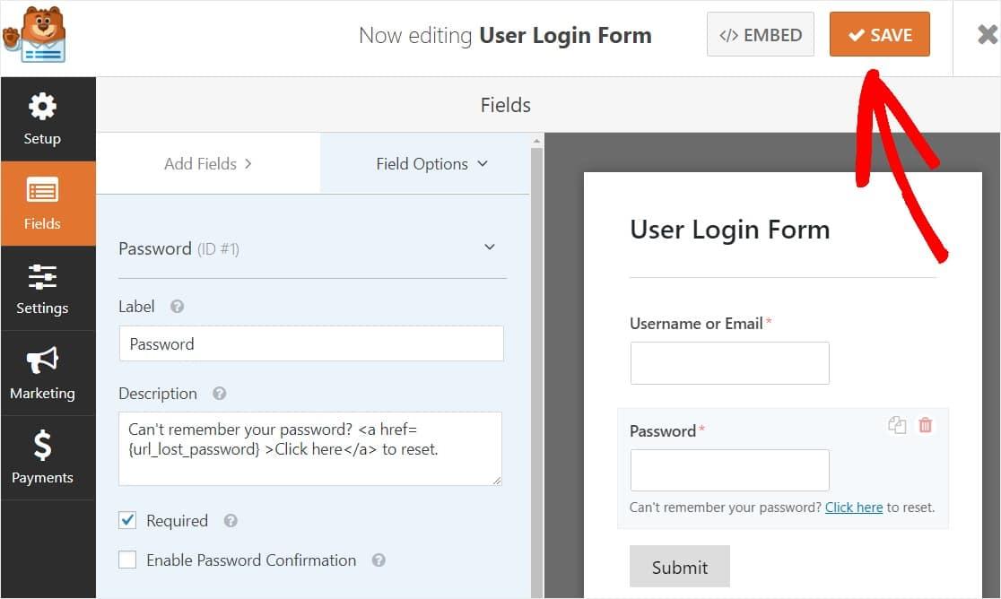 Save User Login Form