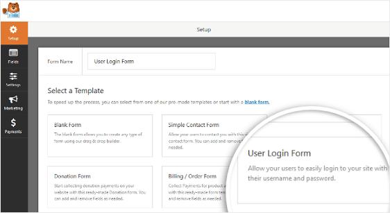 WPForms User Login Form Template