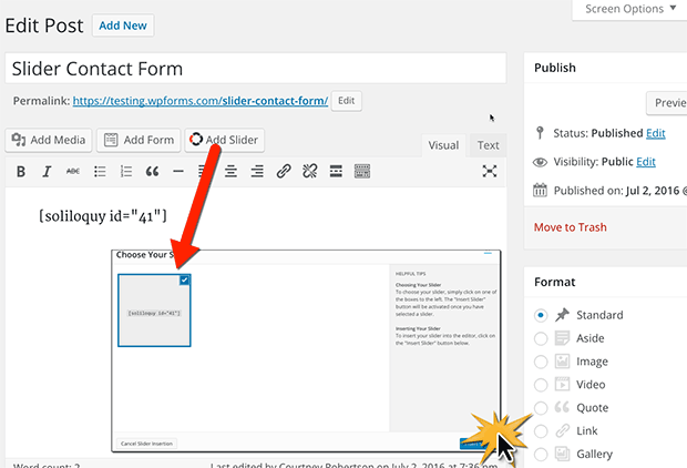 Add a WordPress Contact Form in a Slider