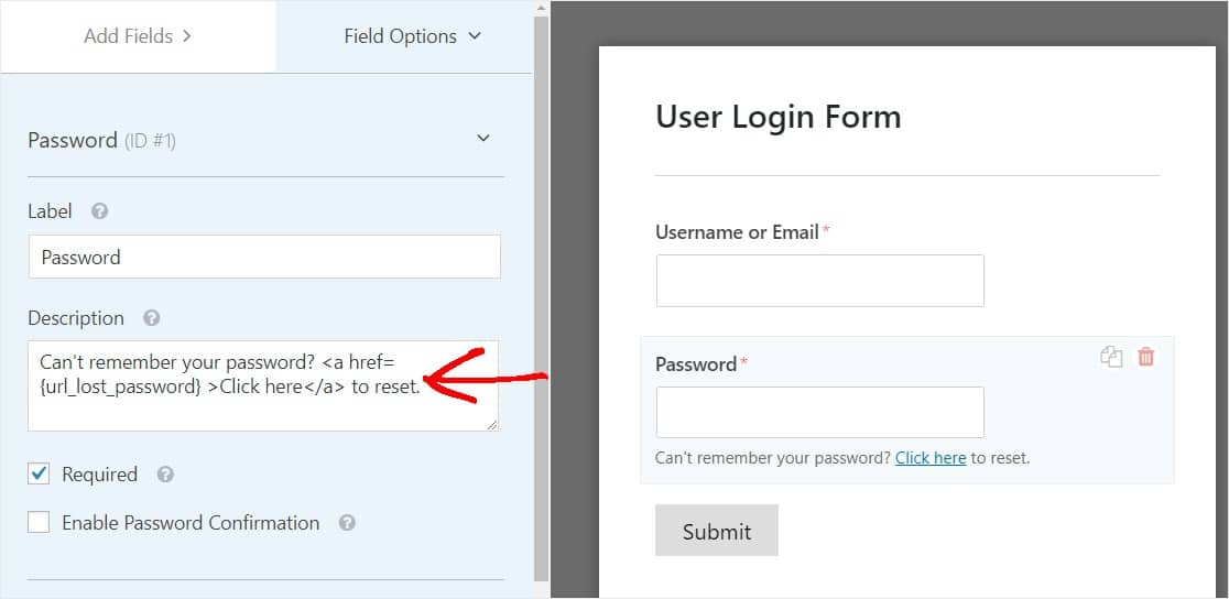 add lost password link to form