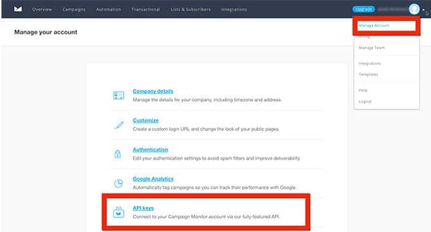 Campaign Monitor API Key