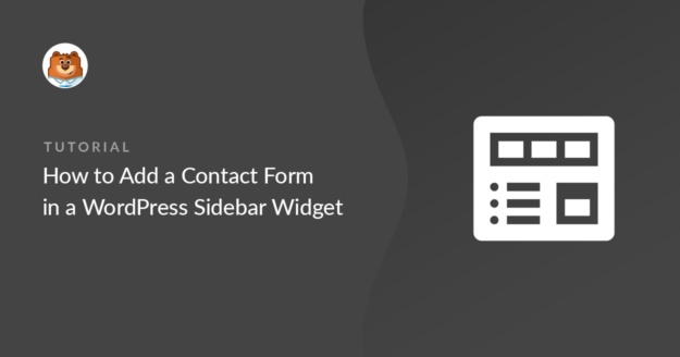 Contact form in the WordPress sidebar