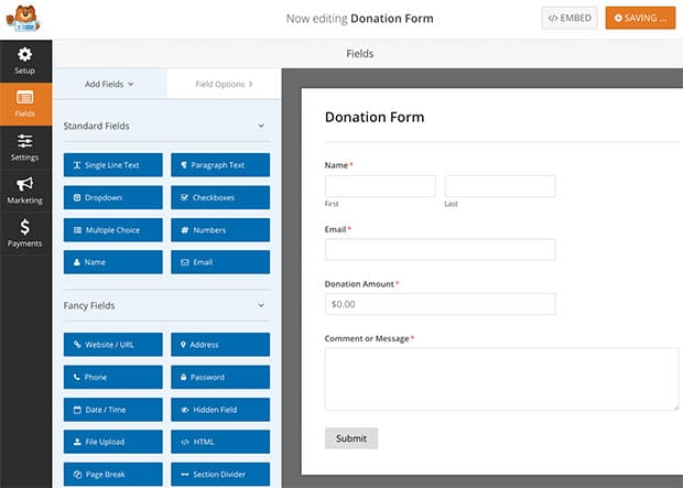 WordPress Donation Form Preview