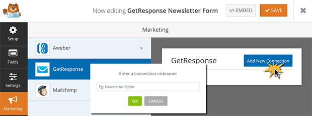 GetResponse Form New Connection