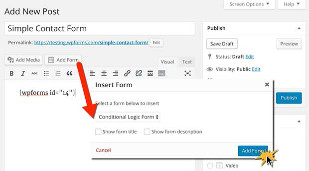 Insert simple contact form into page