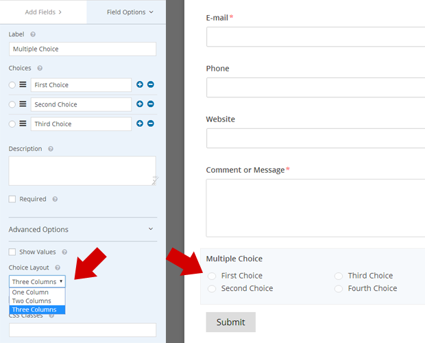 Choice Layout in WPForms