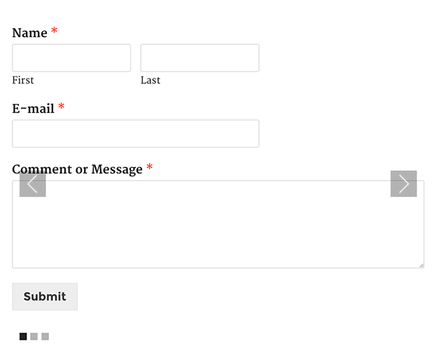 published contact form in slider