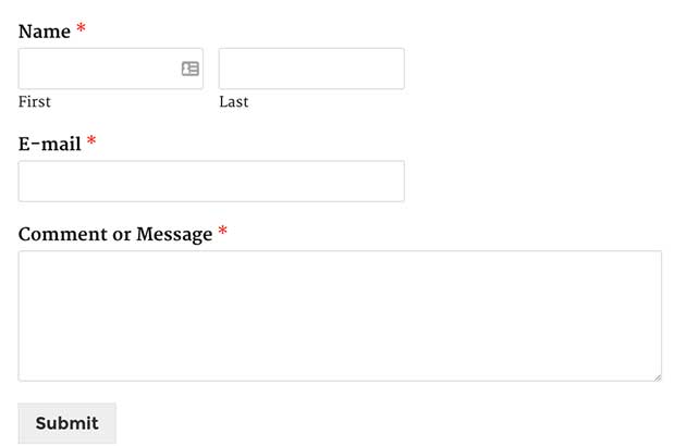 Published Contact Form