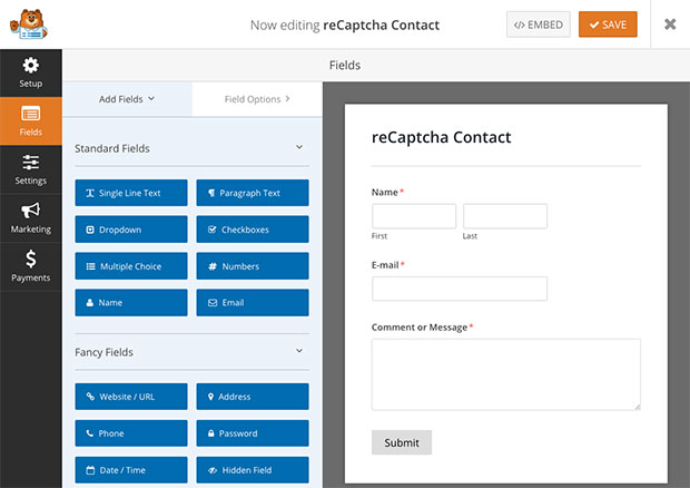 reCAPTCHA contact form preview