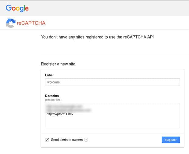 Add your site to reCAPTCHA