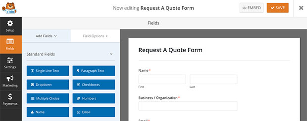 request a quote preview