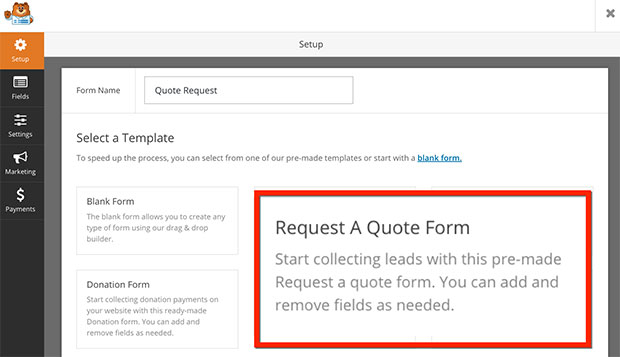Request a Quote form in WordPress