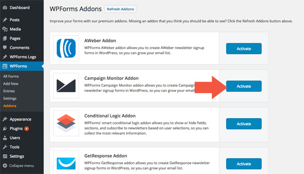 Activate Campaign Monitor Addon