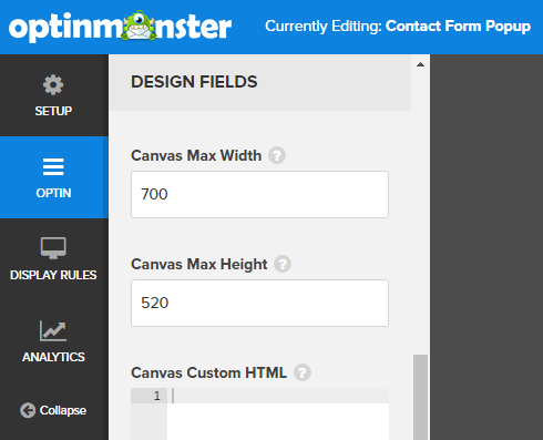 setting the height and width of your popup contact form