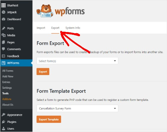 how-to-export-contact-form-export-tab